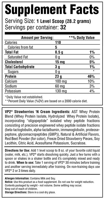 VP2 Protein Strawberries and Cream Supplement Facts