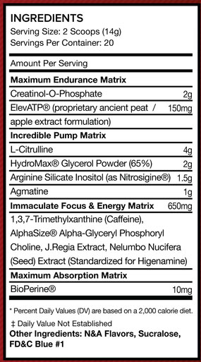 Conqu3r Unleashed Supplement Facts