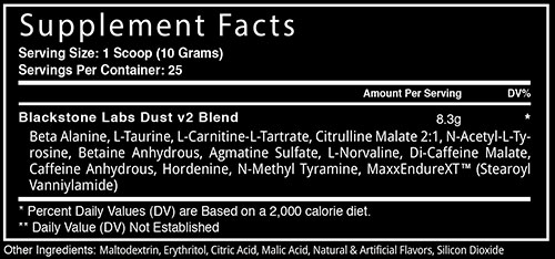 Dust v2 Supplement Facts