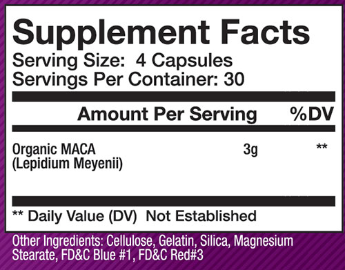 Olympus Labs Organic Maca Supplement Facts