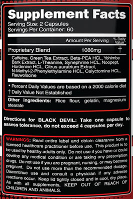 Primeval Labs Black Devil Supplement Facts