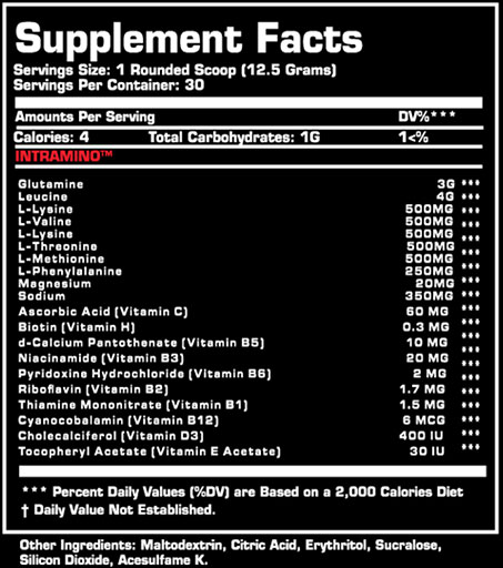 Intra Amino BCAA Supplement Facts