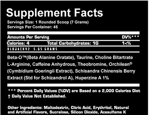 Old Jack v2 Supplement Facts