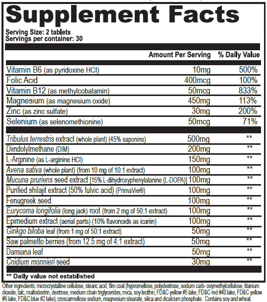 Testrol Gold Supplement Facts