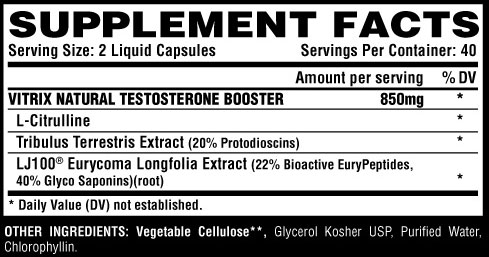 Vitrix Supplement Facts