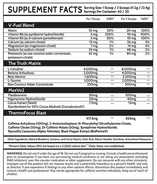 DVST8 White Cut Supplement Facts