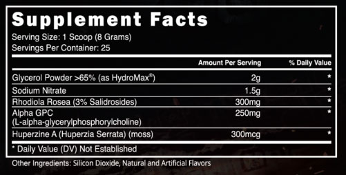 Hype Extreme Supplement Facts