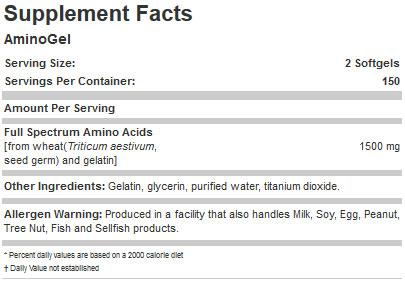 Aminogel Supplement Facts