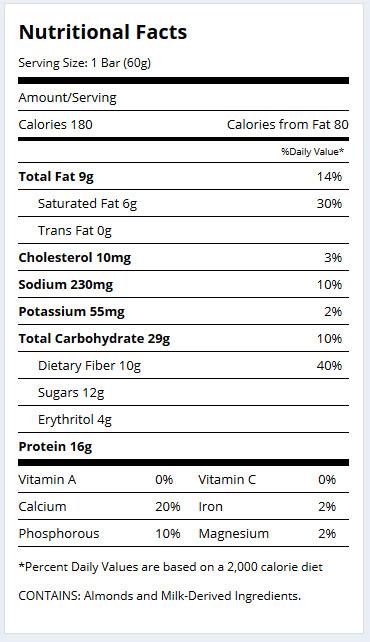 Hero Bars Supplement Facts