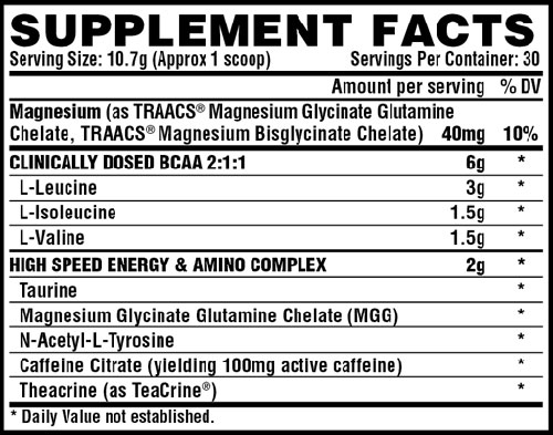Amino Charger Energy Supplement Facts