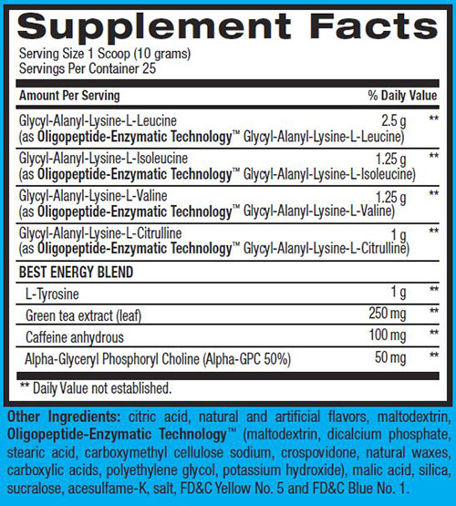 Best BCAA With Energy Supplement Facts