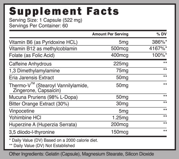 EXO 13 Fat Burner Supplement Facts