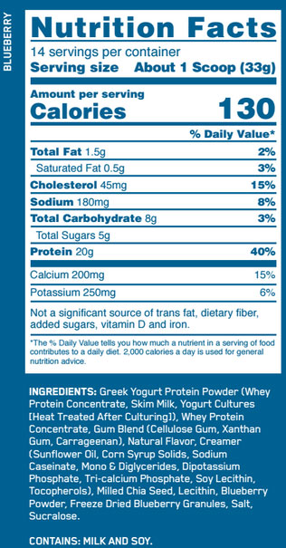 Greek Yogurt Protein Supplement Facts