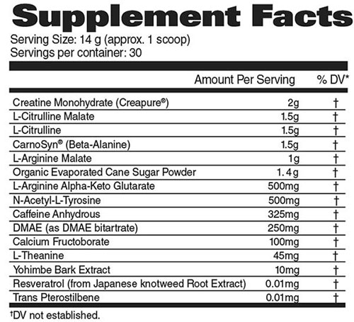 Nitraflex Plus Creatine Supplement Facts