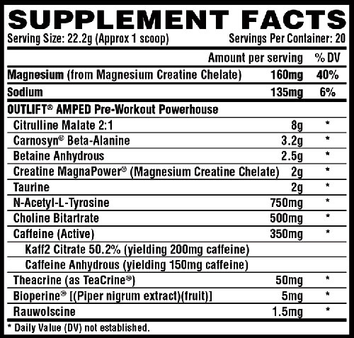 Outlift Amped Supplement Facts