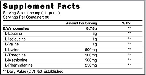 Prime Nutrition EAAs Supplement Facts