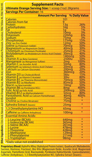 Ultimate Orange Supplement Facts