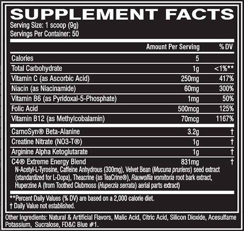 C4 Extreme Energy Supplement Facts