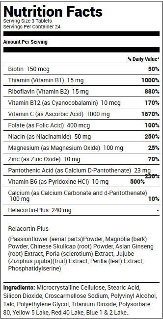 Relacore Supplement Facts