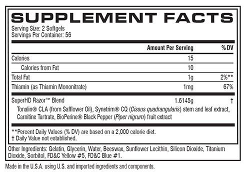 Super HD Razor Supplement Facts