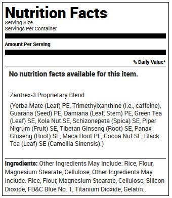 Zantrex-3 Supplement Facts