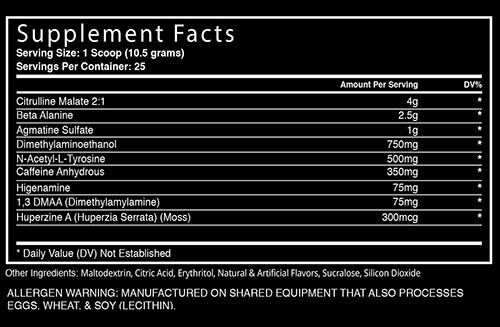 Dust Extreme Supplement Facts