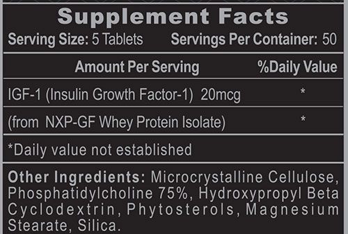 Pro IGF-1 Supplement Facts