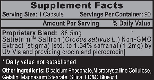 Satietrim Saffron Extract Supplement Facts