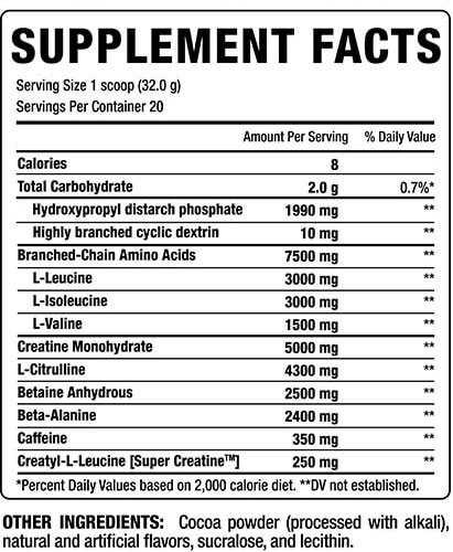 Bang Pre Workout Supplement Facts