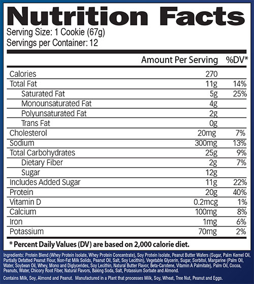 Booyah Protein Cookie Nutrition Facts