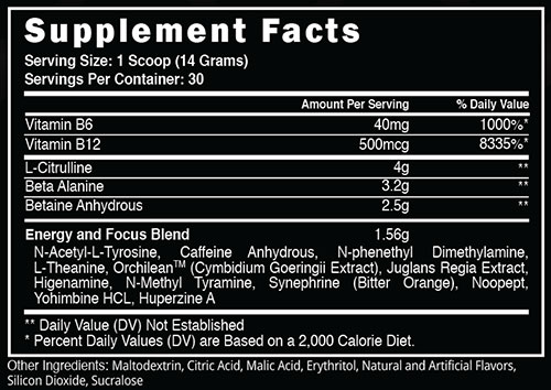 Charged AF Supplement Facts