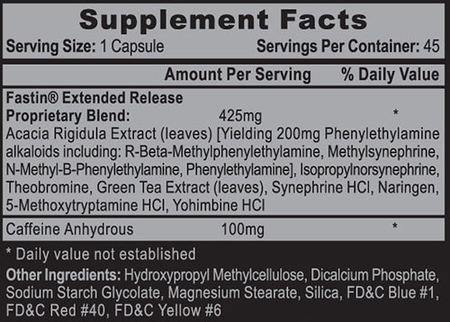 Fastin XR DMAA FREE Supplement Facts