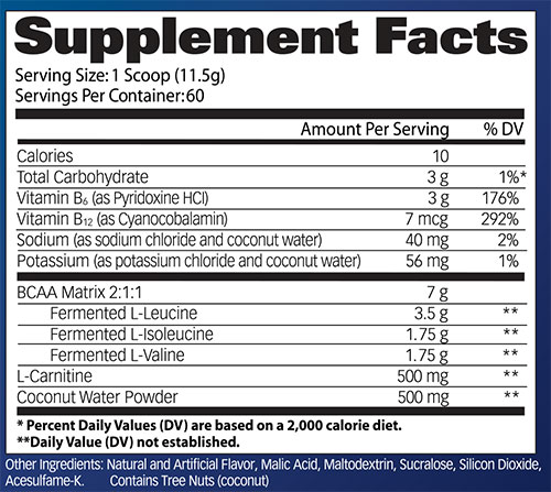 FLEX BCAA Supplement Facts