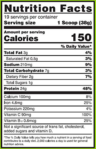 Gold Standard Plant Protein Supplement Facts