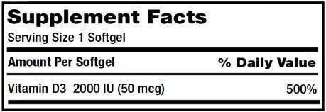 Kirkland Vitamin D3 Supplement Facts