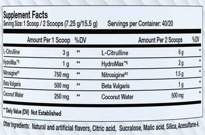 Kraken Pump Supplement Facts
