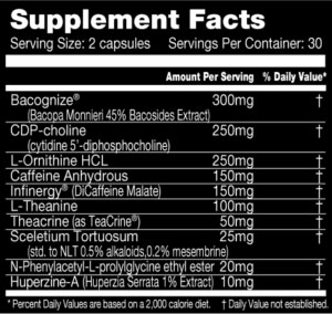 NootropiMax Supplement Facts