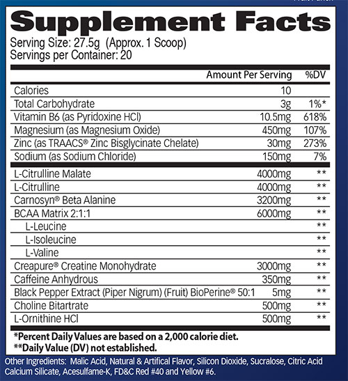 Psychon Supplement Facts