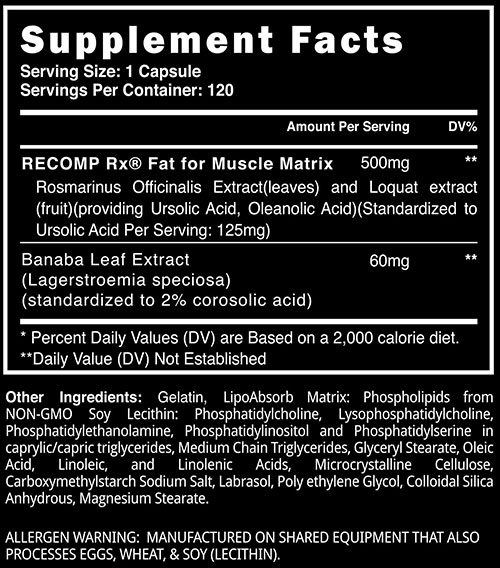 Recomp Rx Supplement Facts