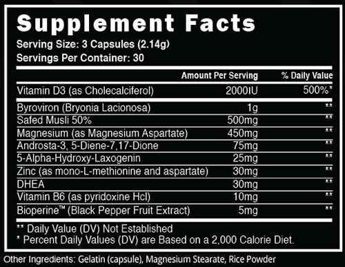 Steel Alpha AF Supplement Facts