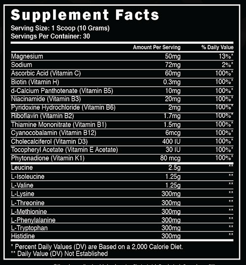 Steel BCAA EAA Supplement Facts