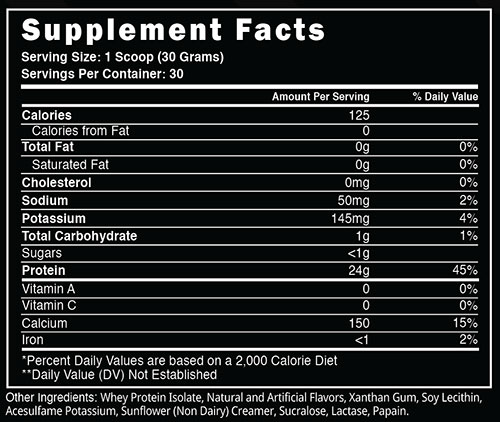 Steel Whey Iso Supplement Facts
