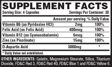 T-UP Supplement Facts