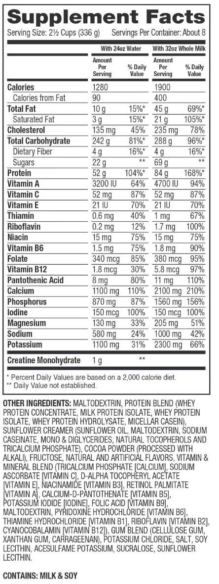 Super Mass Gainer Supplement Facts