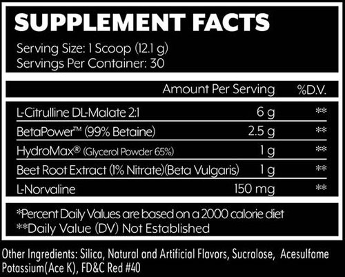 Sleeve Buster Supplement Facts