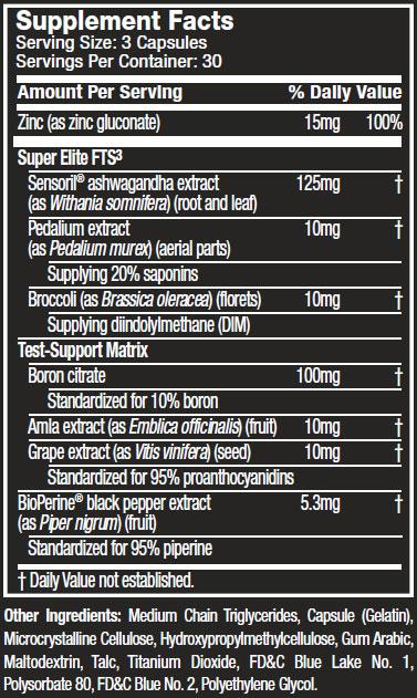 Test HD Super Elite Supplement Facts