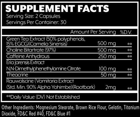 Will Power Fat Burner Supplement Facts