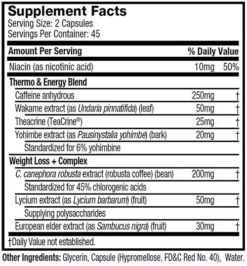 Hydroxycut Ultra Stim Supplement Facts