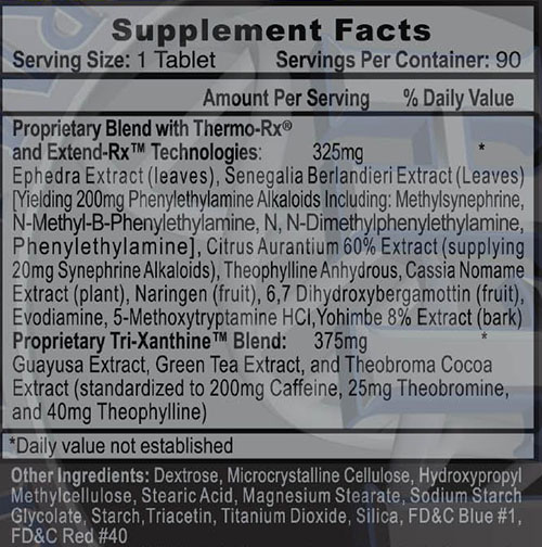 Lipodrene Hardcore With Ephedra Supplement Facts