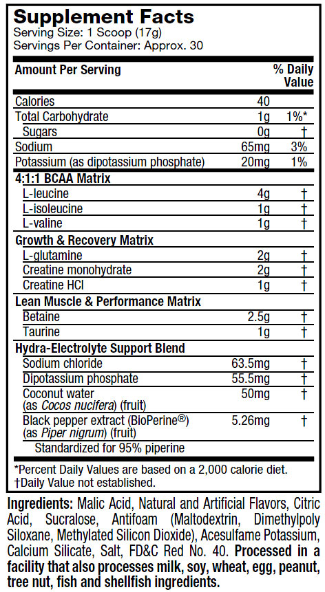 MuscleTech Afterbuild Supplement Facts
